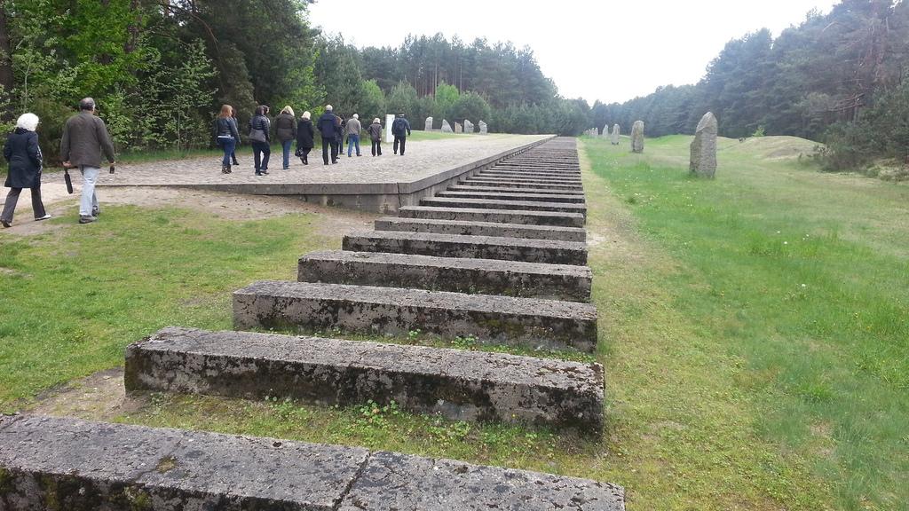 Symbolic concrete blocks mark the path of the former railway line at Treblinka.