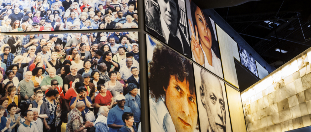 Photographs featured in the museum.  Photo from the Human RIghts Museum website.  https://humanrights.ca/