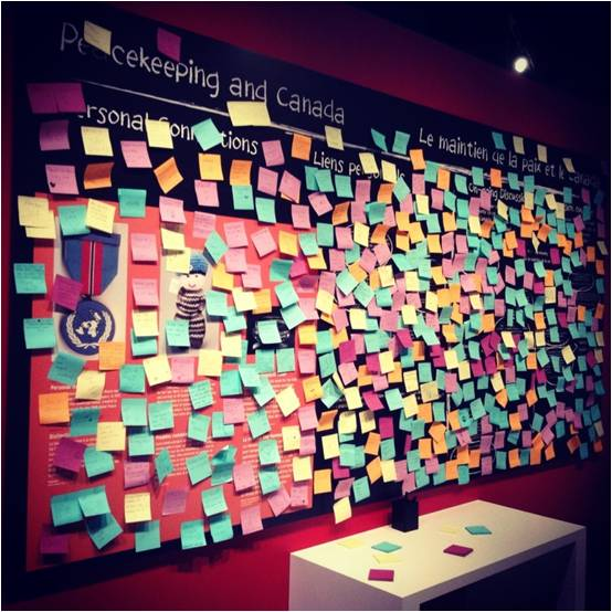 A reflection wall encourages participation and discussion on Canada's role in peacekeeping.  (Photo courtesy of Jamie Harrison)