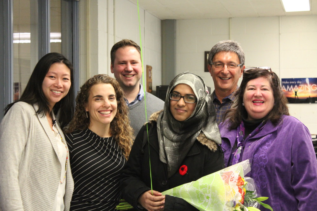Facing History and Woburn Collegiate staff join in celebrating Shireen's win. L to R: Jasmine Wong, Leora Schaefer, Ben Gross, Shireen Afzal, Ron Hoffman and Karen Hume