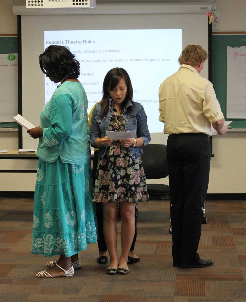 Educators at a Facing History and Ourselves seminar performing a Reader's Theatre piece