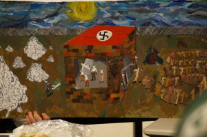 student painting of Jews portrayed as mice being led to the gas chambers