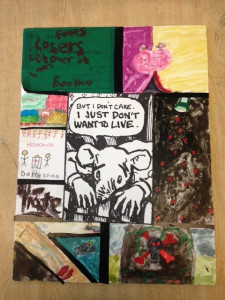 Artwork, constructed with paper, velum, paint, and collage, made in response to panels from Maus